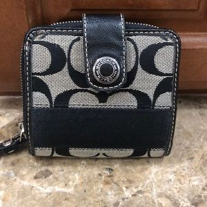 Coach small fabric wallet with large C pattern